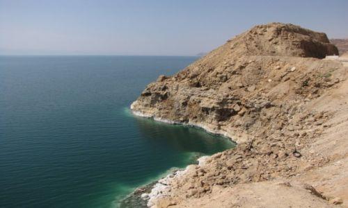 JORDANIA / środkowa Jordania / Morze Martwe / Sól jest nawet na skałach