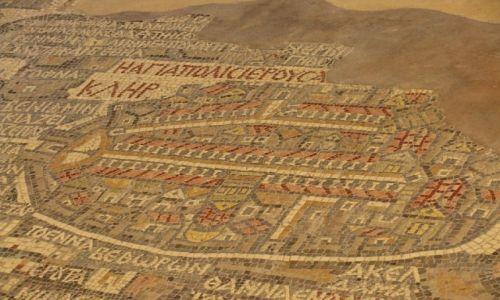 Zdjęcie JORDANIA / zachodnia Jordania / Madaba / fragmenty mozaiki z Madaby