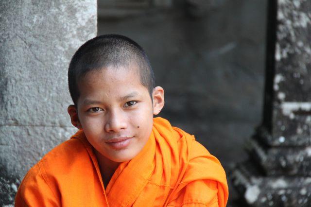 Zdjęcia: Angkor Wat, Siam Reap, Mnich, KAMBODżA
