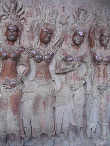 Zdj�cia: Angkor, Siem Reap, Ozdoby na scianach Angkor Wat, KAMBOD�A