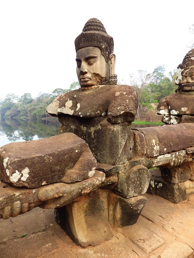 Zdjęcia: Angkor Thom, Angkor, brama południowa - detal, KAMBODżA