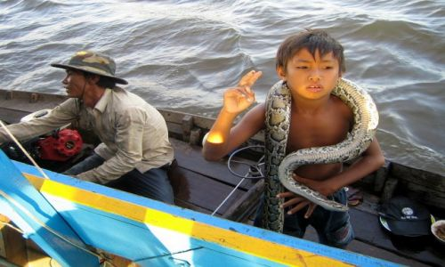 Zdjecie KAMBODżA / Siem Reap / Tonale Sap / Chłopiec z wężem