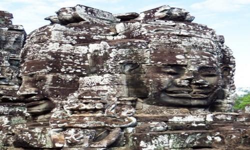 Zdjecie KAMBODżA / Angkor / Angkor Thom / świątynia Bajon - kamienne twarze