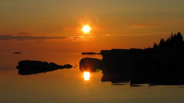 Zdjęcia: Wyspa Franklin Island, Ontario, Zachód słońca na zatoce Georgian Bay, KANADA