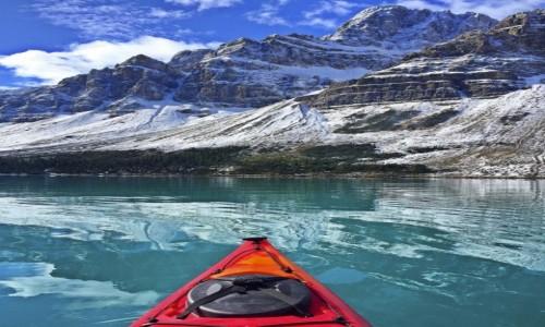 KANADA / Alberta / Bow Lake / zimowe kajakowanie