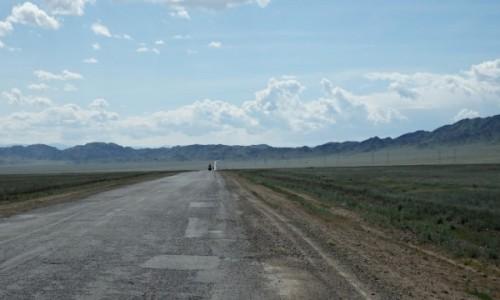 KAZACHSTAN / Kazachstan południowy / ok. 20 km. przed Kanionem Szaryńskim / Na szczęście wiatr w plecy