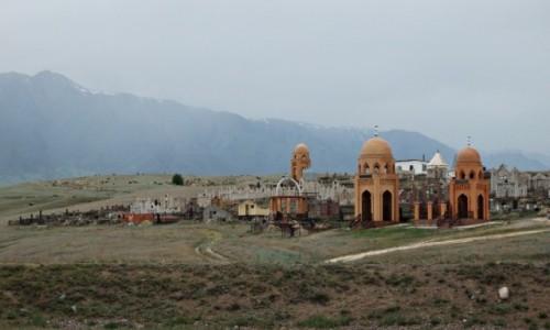 KAZACHSTAN / Kazachstan południowy / gdzieś pomiędzy Ałmatą ,a Kanionem Szaryńskim / Kazachski cmentarz