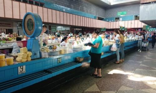 Zdjecie KAZACHSTAN / - / Ałma-Ata / Dział nabiału na Zielonym Bazarze