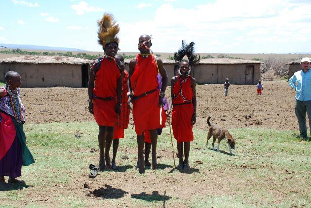 Zdjęcia: SAFARI wioska Masajów, Masai Mara , Przywitanie, KENIA