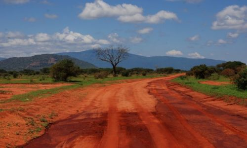 KENIA / między Nairobi a wybrzeżem / Park Narodowy Tsavo / Droga