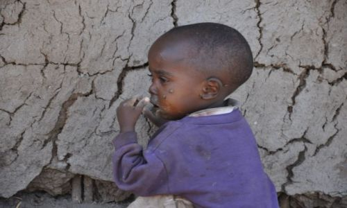 Zdjecie KENIA / Amboseli / wioska masajska / Dzieci Masajów