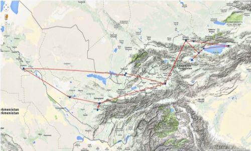 Zdjęcie KIRGIZJA / Azja Środkowa / Azja / Mapka podróży - Kirgistan, Uzbekistan
