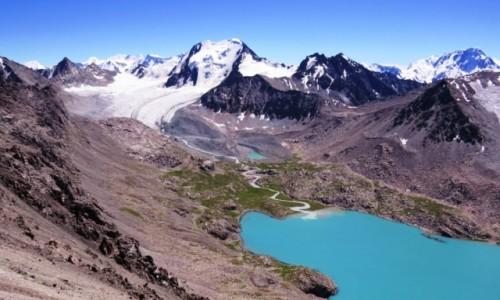 KIRGIZJA / Tien-Szan / Jezioro Ala-Kol / Ala-Kol i lodowiec