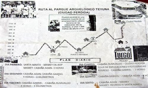 Zdjecie KOLUMBIA / Sierra Nevada / góry / Mapka trekingu do Ciudad Perdida
