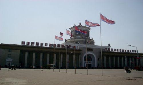 KOREA PÓŁNOCNA / AZJA / PHENIAN / CENTRALNY DWORZEC KOLEKOWY W PHENIANIE