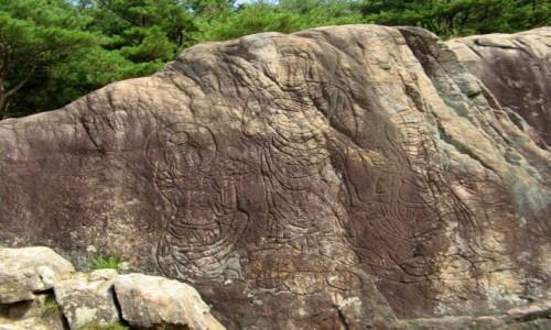 KOREA POŁUDNIOWA / Gyeongju / Namsan / Kamienna płaskorzeźba na górze Namsan