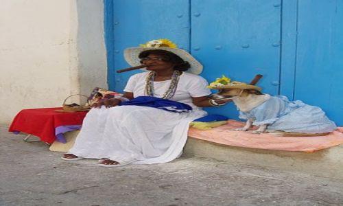 Zdjecie KUBA / La Habana / Habana Vieja / Kubanka z psem