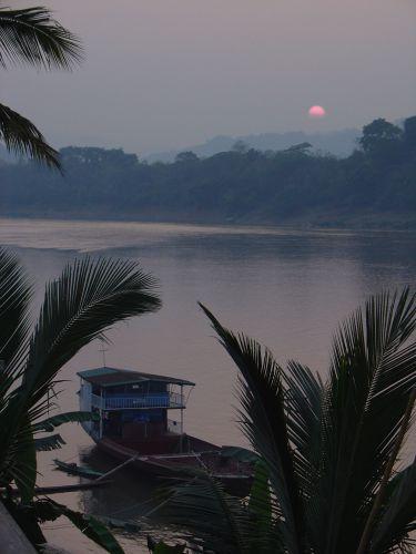 Zdjęcia: Luang Prabang, Zachód słońca nad Mekongiem, LAOS