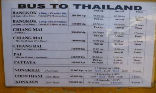 Zdjecie LAOS / Vientiane / bus station / Bus Vientiane-Tajlandia - ceny, czas i godz. odjazdu