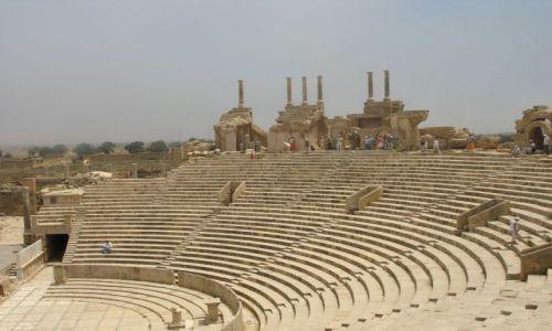 LIBIA / połnocna LIbia / Leptis MAgna / pieknie zachowany amfiteatr