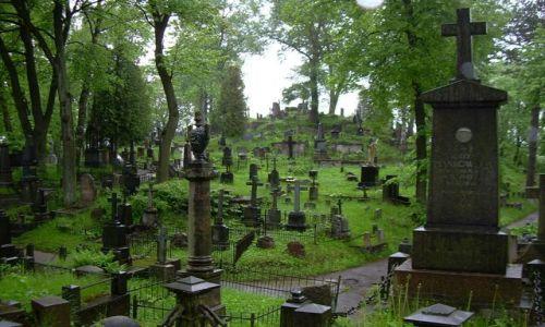 Zdjecie LITWA / Wilno / Cmentarz na Rossie / Cmentarz w deszczu