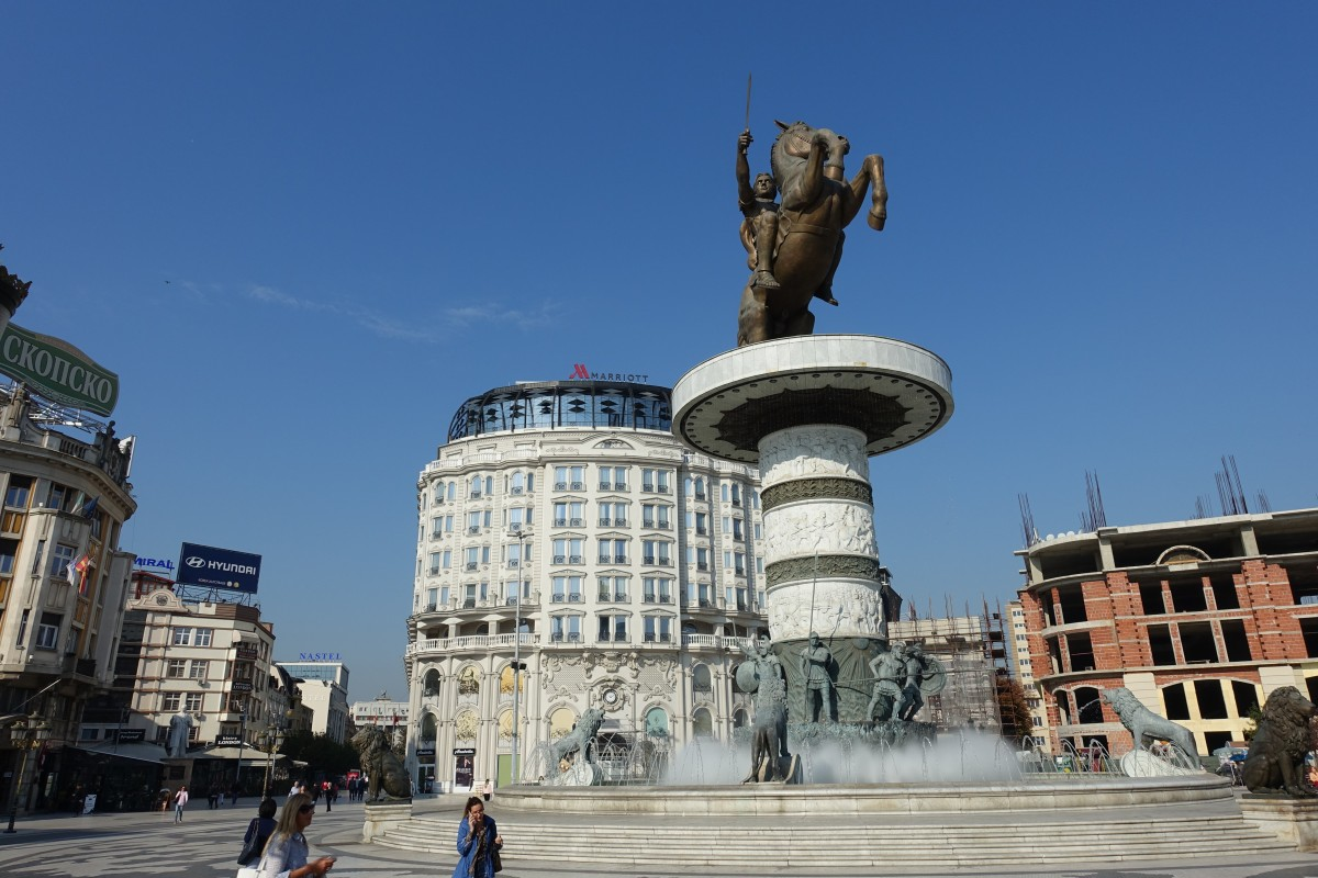 Zdjęcia: Plac Macedoński, Skopje, Jeździec na koniu, MACEDONIA