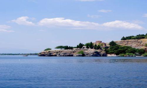 MACEDONIA / Ochryd / Ochryd / Widok na cerkiew sw. Jovana Kaneo z Jeziora Ochrydzkiego