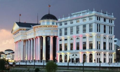 Zdjecie MACEDONIA / Skopje / Nad rzek� Wardar / Iluminacje