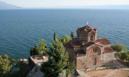 Zdjęcie MACEDONIA / Ohrid / Ohrid / monastyr nad brzegiem jeziora Ohrid