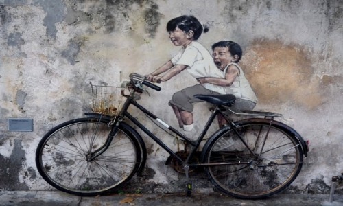 "MALEZJA / Penang / George Town / Mural ""Little Children on a Bicycle"""