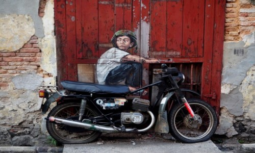"MALEZJA / Penang / George Town / Mural ""Boy on a Bike"""