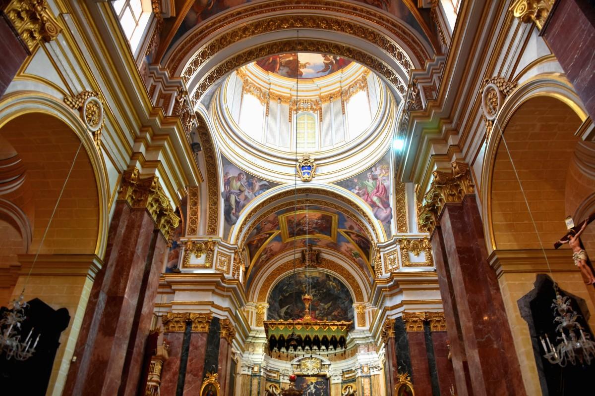 Zdjęcia: Mdina, środkowa Malta , Wnętrze katedry św. Pawła w Mdinie, MALTA