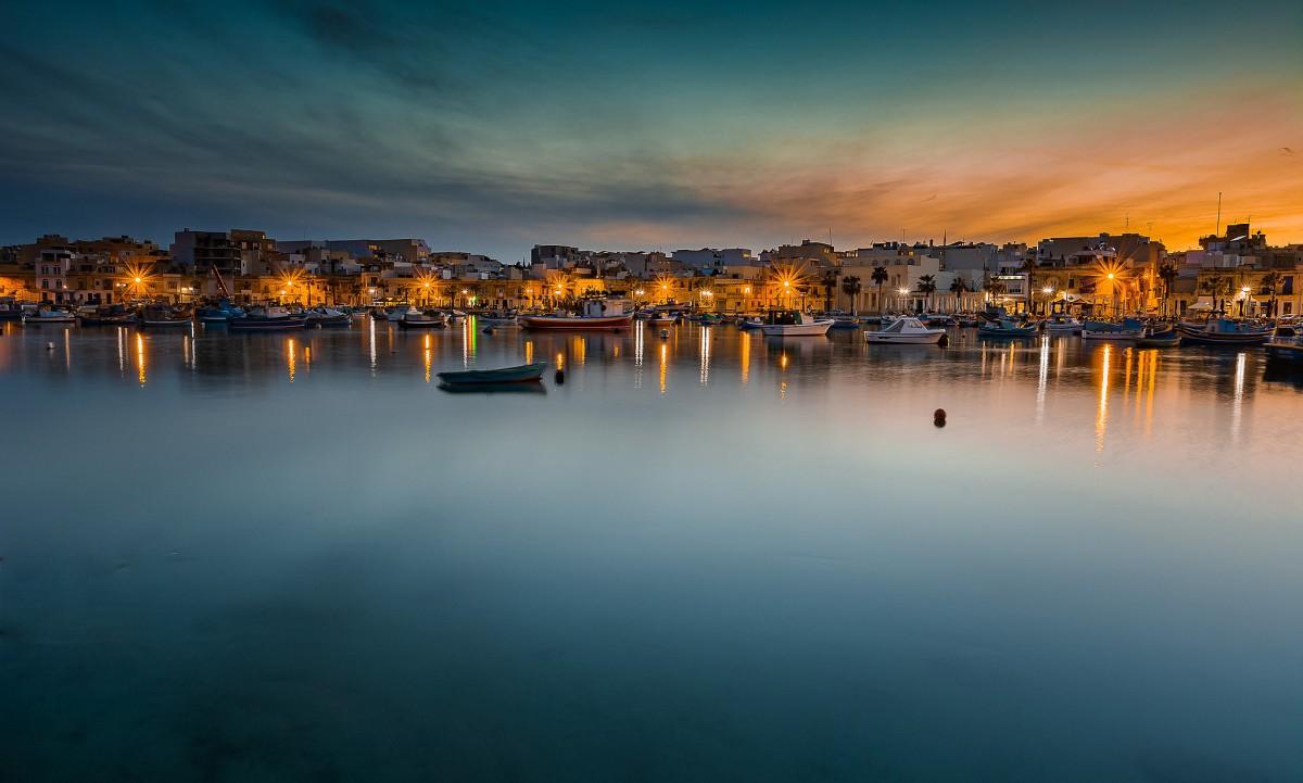 Zdjęcia: Marsaxlokk, ., nocą, MALTA