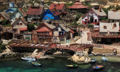 MALTA / Gozo, Mellieha / Zatoka Anchor / Popeye Village, marina