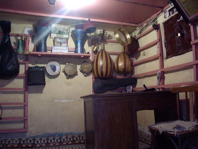 Zdj�cia: marocco, marake., sklep muzyczny, MAROKO