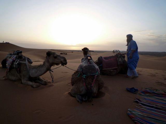 Zdjęcia: okolice Erfoud_Sahara, południowo-wschodni kraniec Tafilant, Słońce zaszło., MAROKO