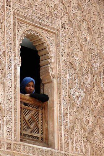 Zdjęcia: Medresa Ben Jusufa, Marrakesz, stiuki, MAROKO