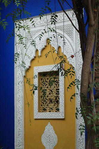 Zdj�cia: Marrakesz, Jardin Majorelle, YSL, Marrakesz, Jardin Majorelle, detal architektury, MAROKO
