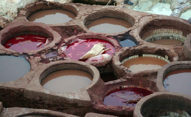 Zdjęcia: fez, naturalna farbiarnia, MAROKO
