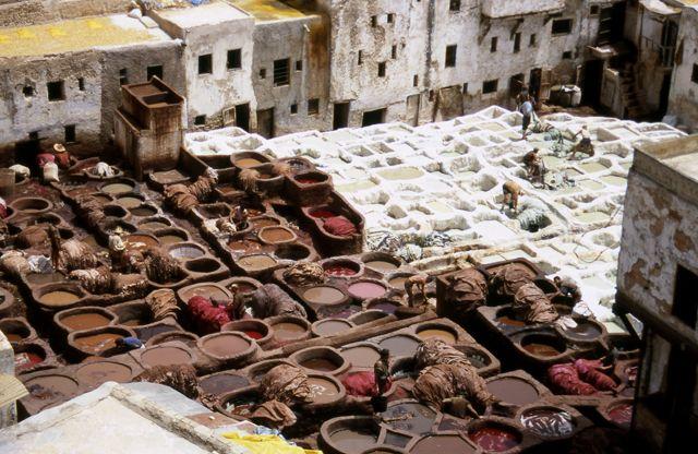 Zdjęcia: Fez, farbiarnia w Fezie, MAROKO