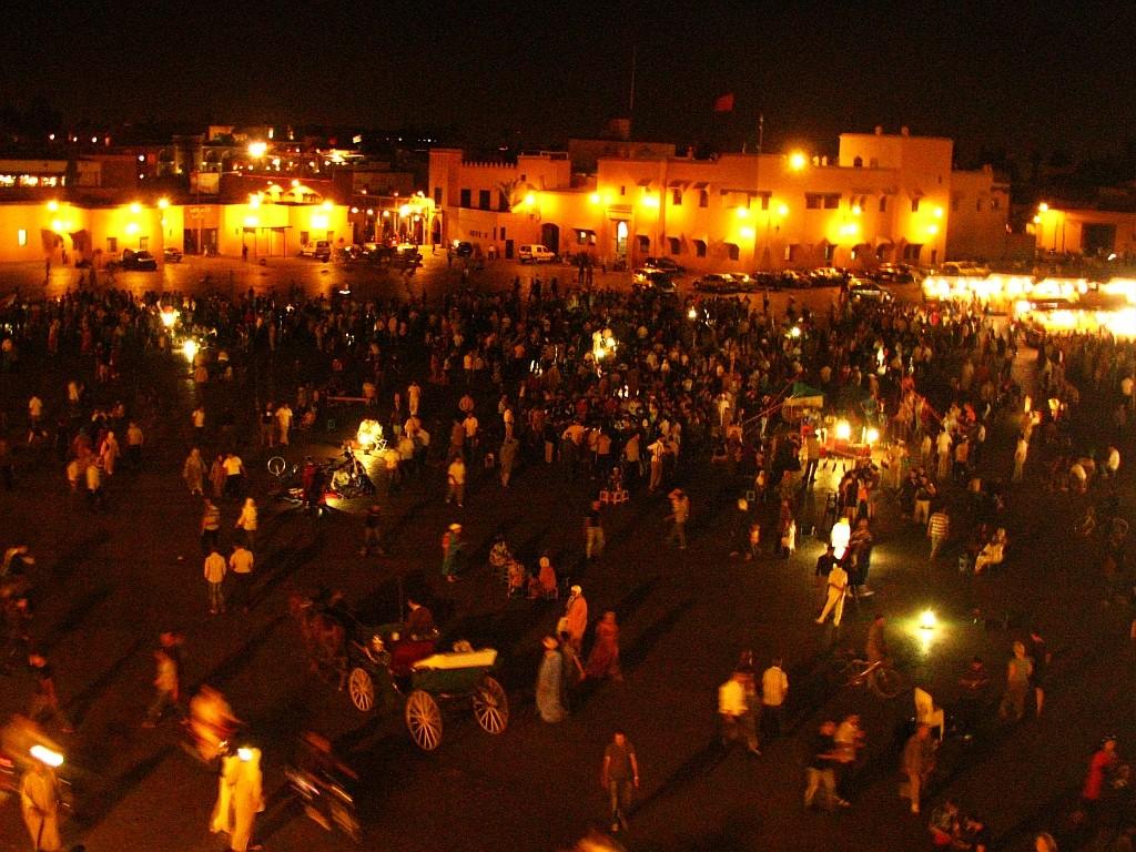 Zdjęcia: Dżama el-Fna, Marrakesz, wieczór na Dżama el-Fna, MAROKO