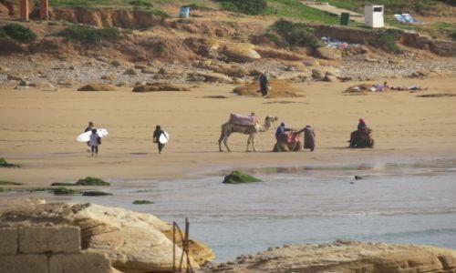 Zdjecie MAROKO / Taghazout / Taghazout / Surferzy i wielbłądy w Taghazout