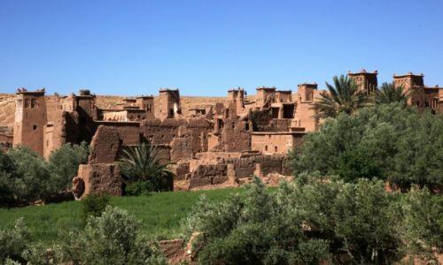 Zdjęcie MAROKO / Ouarzazate / Nad rzeką Ounila / Ksar Ait-Ben-Haddou