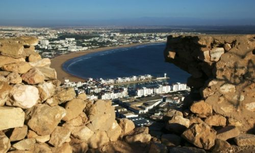 MAROKO / Agadir / Wzgórze Kasbah / Widok na port i miasto