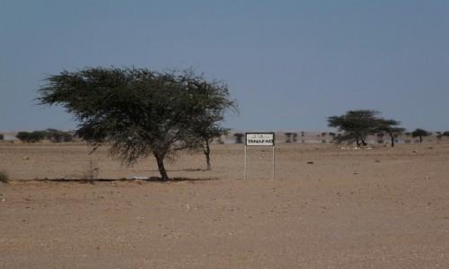 Zdjecie MAROKO / Sahara Zachodnia / Sahara / Strefa zabudowana.Zmniejsz prędkość.