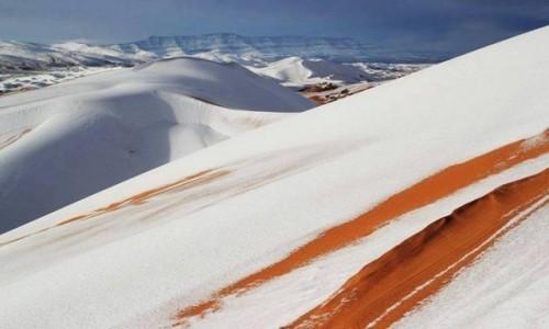 MAROKO / Sahara / Erg Chebbi / Wydmy pod śniegiem