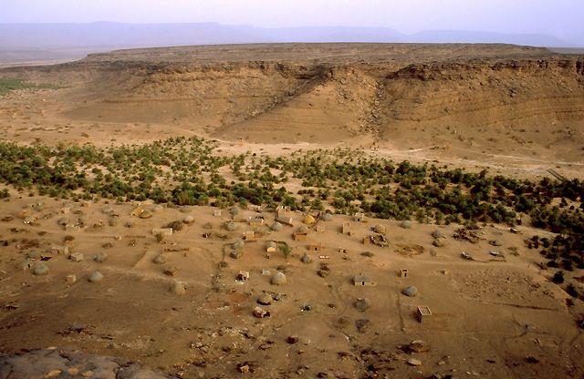 Zdj�cia: oaza Teizent, masyw Adraru, widok z klifu na oaz�, MAURETANIA