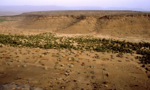 MAURETANIA / masyw Adraru / oaza Teizent / widok z klifu na oazę