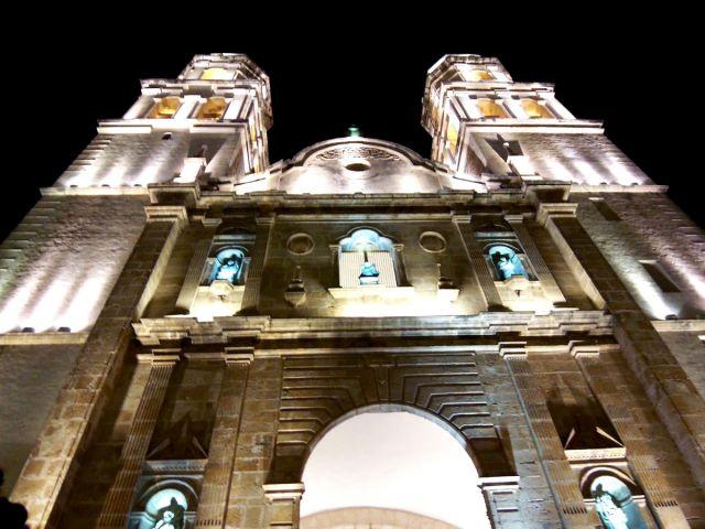 Zdjęcia: Campeche, Jukatan, katedra noca, MEKSYK