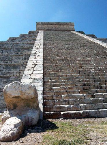 Zdj�cia: Jukatan / Chichen Itza, schody na szczyt El Castillo, MEKSYK